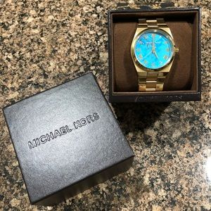MK Channing Turquoise Dial Gold-tone Ladies Watch